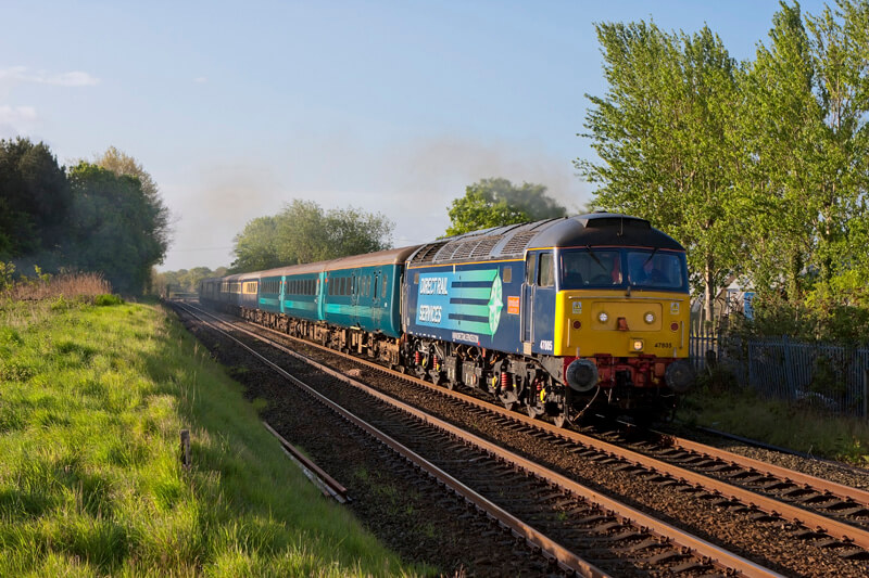 47805 on the rear passes Leaton Crossing. By James Poole.