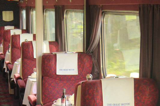 The interior of a Mk2 Premier Dining carriage. By Ben Williams.