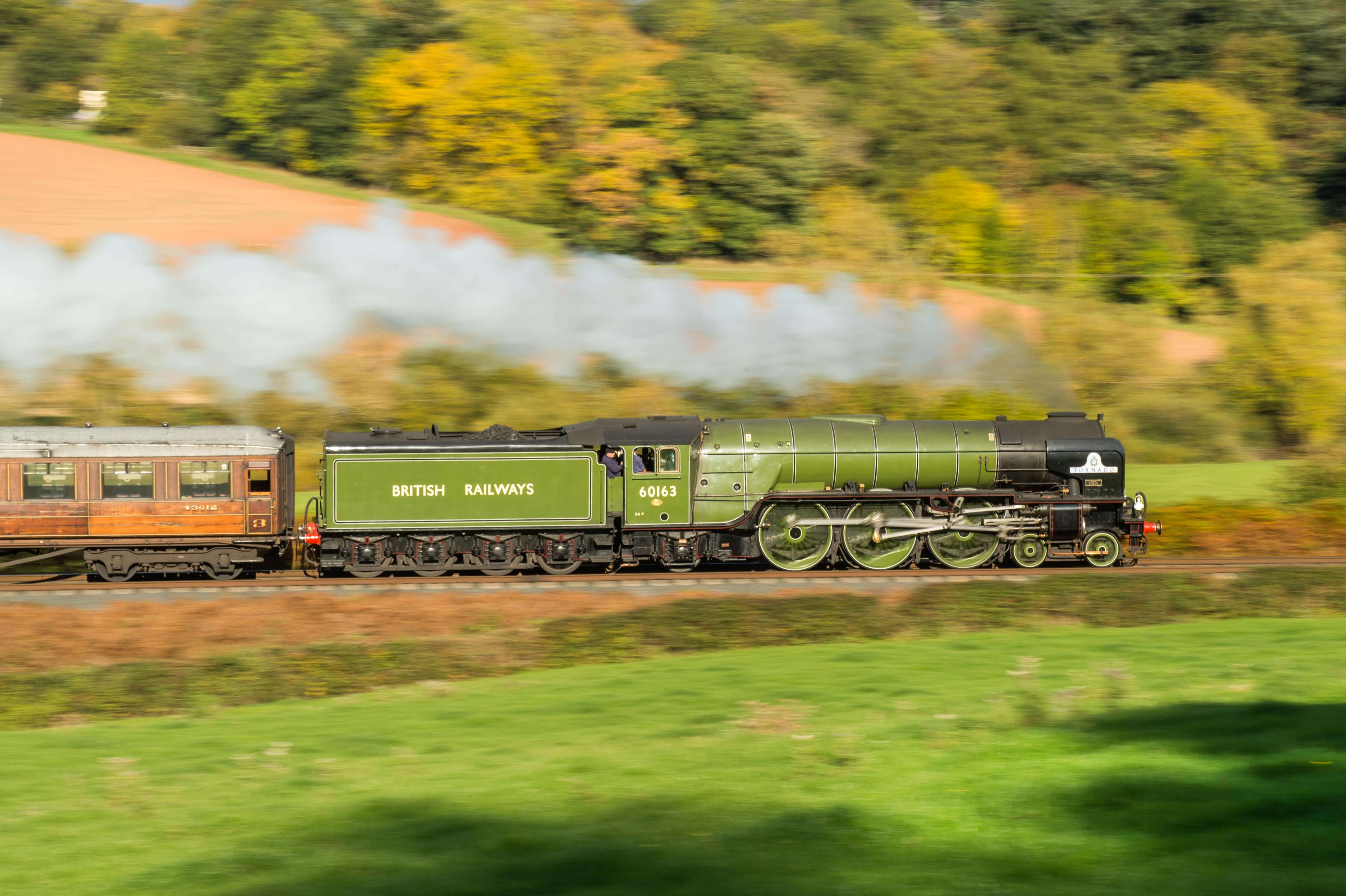 A1 Peppercorn No. 60163 Tornado is captured at speed at 1/20th second on the Severn Valley Railway
